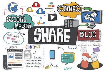 Share Global Communication Networking Blog Concept