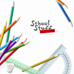 Back to school background with school supplies. School equipment for painting and art. Vector realistic illustration.