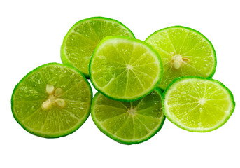 Fresh limes  slice Isolated on white