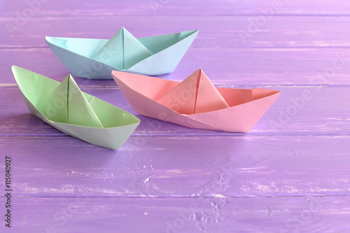 Three Colorful Paper Ships On Lilac Wooden Table Easy To Make