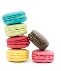 Wall Murals Grass Sweet and colourful french macaroons or macaron on white background
