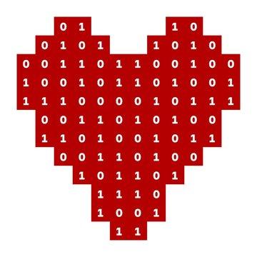 Virtual love, red heart