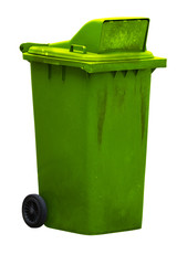 Dirty purple bin isolated on white