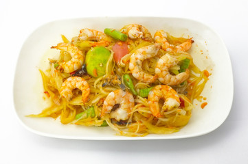 Papaya salad with shrimp, Thai spicy food