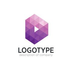Letter D cube figure logo icon design template elements