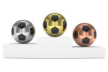 Three gloss soccer balls on white pedestal. 3D rendering.