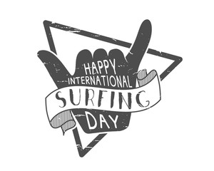 Summer surfing day tattoo design. Vector Vacation monochrome design typography print emblem. Surfer party with surf symbol - shaka sign. Best for web design or print on t-shirt