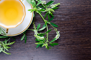 herbal sweetclover tea in a porcelain cup on a dark wooden background