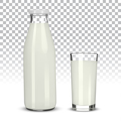 Glass of milk and bottle on transparent background
