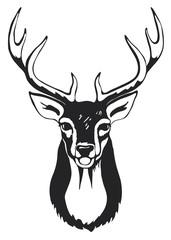 Black silhouette of deer head with antlers.