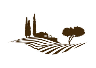 mediterrane vektor Landschaft mit Feldern, Haus und Baum