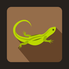 Green lizard icon in flat style with long shadow. Reptiles symbol