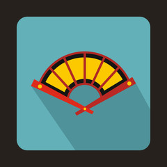 Fan icon in flat style with long shadow. Accessories symbol