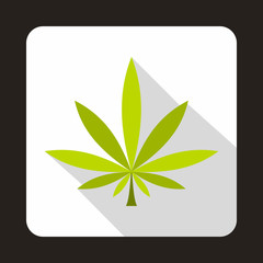 Cannabis leaf icon in flat style with long shadow. Plants symbol