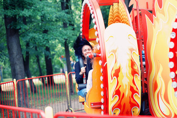 happy girl on the carousel