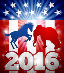 An Elephant and a Donkey  facing off against each other in front of an American Flag with the text 2016