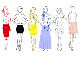 A set of sketches of girls without faces in colorful skirts isolated on the white background