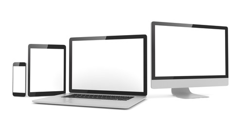 Responsive web design, laptop, smartphone, tablet, computer, display. 3d rendering.