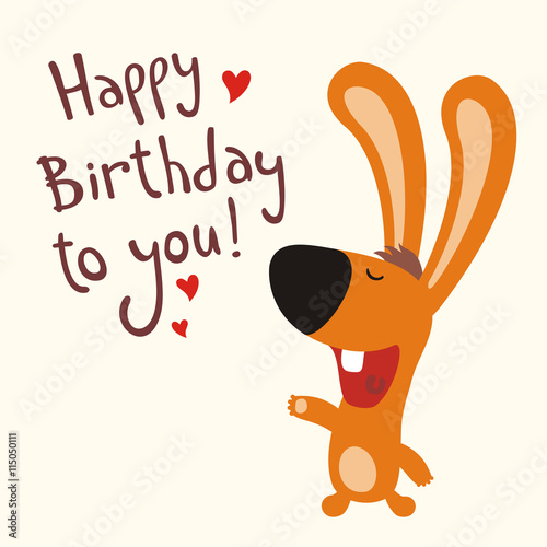 Happy Birthday To You Funny Rabbit Sings Cartoon Vector Illustration