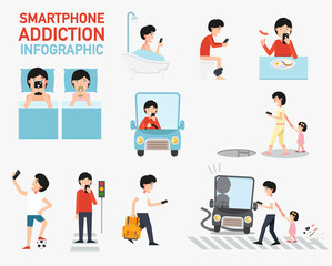 Smartphone addiction infographic.vector
