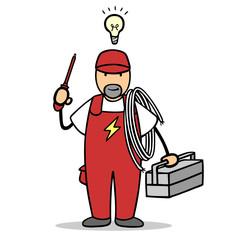 Mann als Elektriker mit Glühbirne