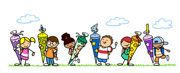 Viele Kinder halten Schultüte zur Einschulung