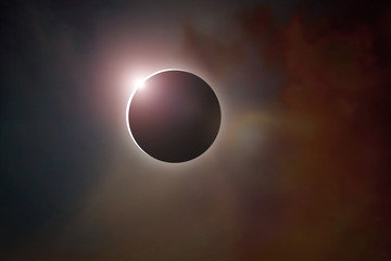 Scientific background, astronomical phenomenon - full solar sun eclipse. Earth Day concept.