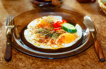 beautiful arrangement of healthy life style vegetarian breakfast on wooden table.