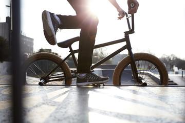 Action Shot Of BMX Rider In Park