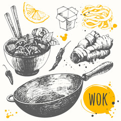 Sketch set with wok pan, chinese noodles, ginger, pepper.