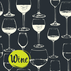 Hand-drawn sketch of wine glass. Seamless glassware background.