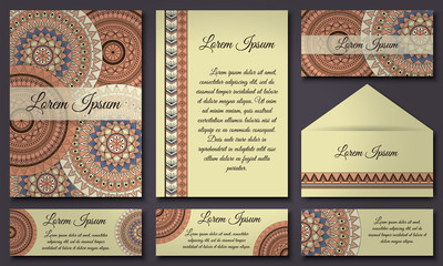 Invitation card collection. Vintage decorative elements. Islam, Arabic, Indian, ottoman motifs.