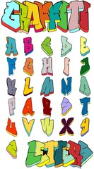 Graffiti letters. Graffiti alphabet. Street art. Graffiti font. Graffiti vector. Letters in graffiti-style.