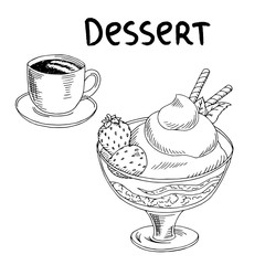 Dessert strawberry ice cream cup coffee food graphic art black white sketch illustration vector