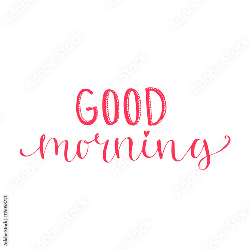 Good Morning Words Lettering For Social Media Cards And Posters