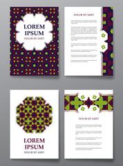 Cover brochure design. Arabic traditional decorative elements.
