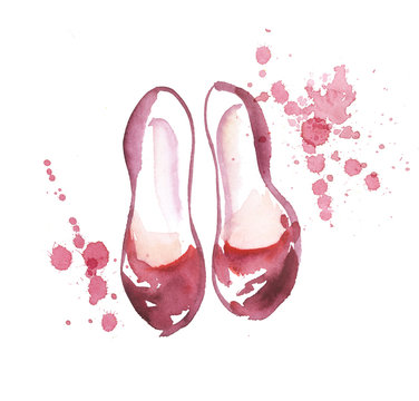 hand drawn shoes illustration. watercolor artwork
