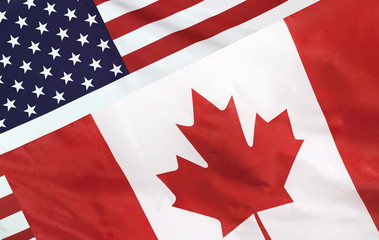 Tuinposter Canada USA and Canada Flag merged