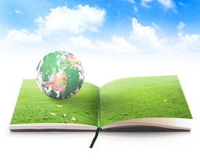 World environment day concept: Open book in earth globe rest on beautiful green meadow over blue sky background. Elements of this image furnished by NASA.