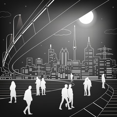 White lines bridge and transportation overpass,people walk, night city, infrastructure vector design art