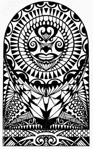 polynesian half sleeve tattoo stock image and royalty