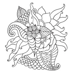 Hand drawn ethnic ornamental patterned floral frame.