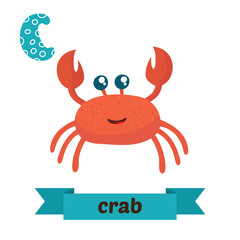 Crab. C letter. Cute children animal alphabet in vector. Funny c