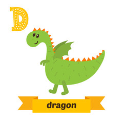Dragon. D letter. Cute children animal alphabet in vector. Funny