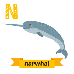 Narwhal. N letter. Cute children animal alphabet in vector. Funn