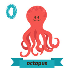 Octopus. O letter. Cute children animal alphabet in vector. Funn