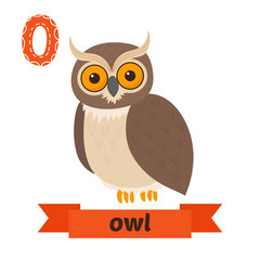 Owl. O letter. Cute children animal alphabet in vector. Funny ca