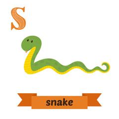 Snake. S letter. Cute children animal alphabet in vector. Funny