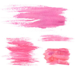 Watercolor paint stains. Pink strokes and blots. Set of artistic textures