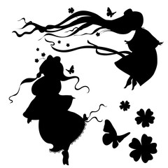 Collections of vector silhouettes  a fairy.